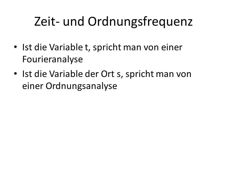 Zeit- und Ordnungsfrequenz Ist die Variable t, spricht man von einer Fourieranalyse Ist die Variable der Ort s, spricht man von einer Ordnungsanalyse