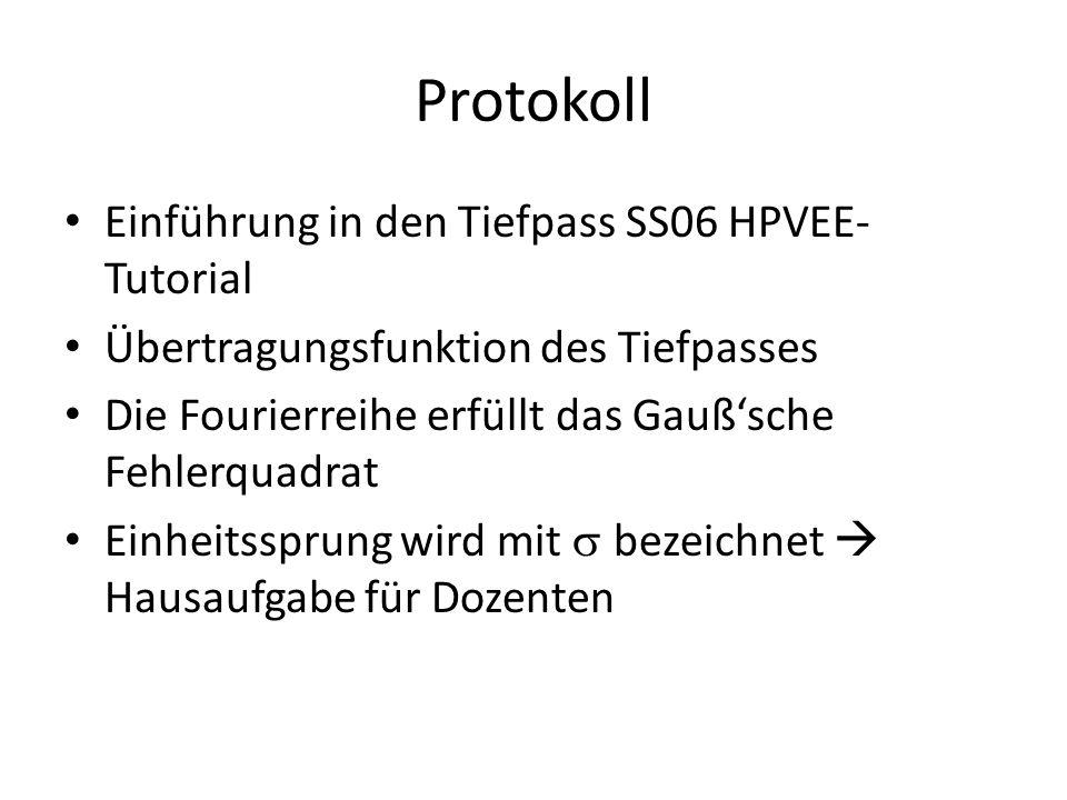Protokoll Einführung in den Tiefpass SS06 HPVEE- Tutorial Übertragungsfunktion des Tiefpasses Die Fourierreihe erfüllt das Gaußsche Fehlerquadrat Einh