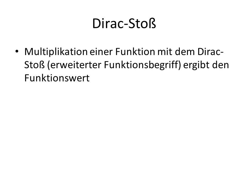 Dirac-Stoß Multiplikation einer Funktion mit dem Dirac- Stoß (erweiterter Funktionsbegriff) ergibt den Funktionswert