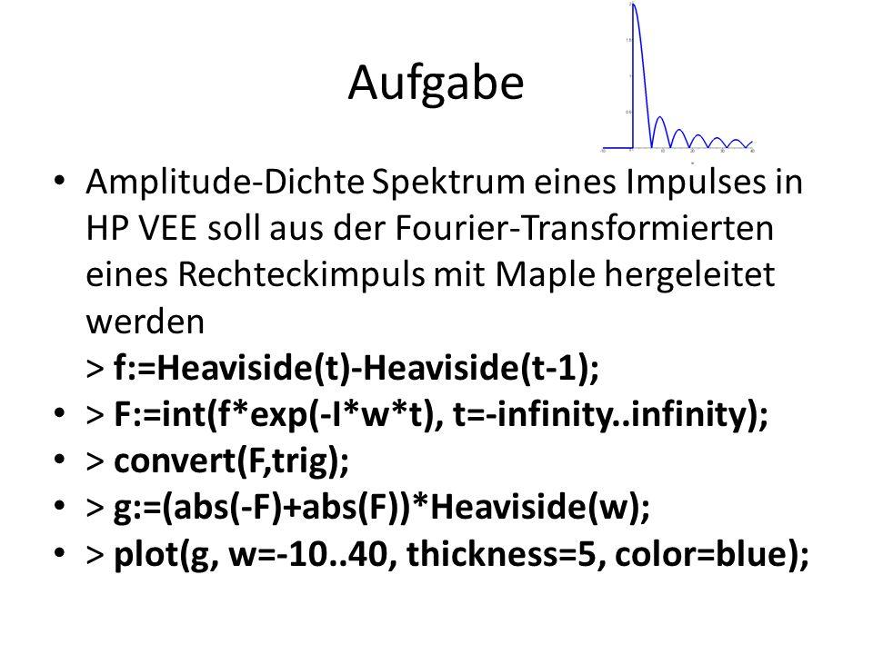Aufgabe Amplitude-Dichte Spektrum eines Impulses in HP VEE soll aus der Fourier-Transformierten eines Rechteckimpuls mit Maple hergeleitet werden > f: