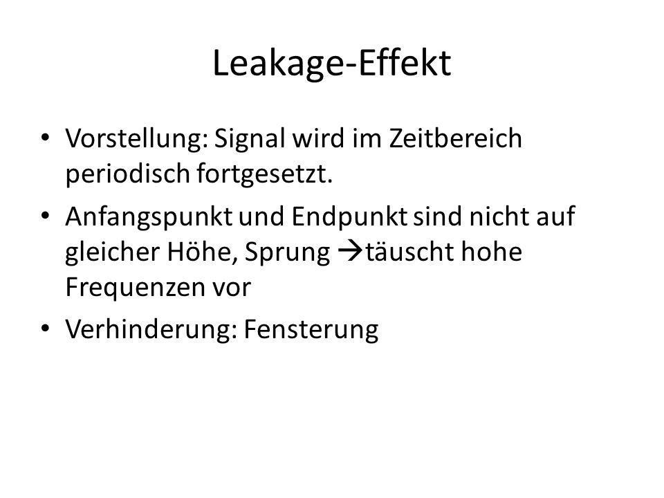 Leakage-Effekt Vorstellung: Signal wird im Zeitbereich periodisch fortgesetzt. Anfangspunkt und Endpunkt sind nicht auf gleicher Höhe, Sprung täuscht