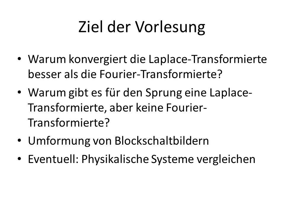 Ziel der Vorlesung Warum konvergiert die Laplace-Transformierte besser als die Fourier-Transformierte? Warum gibt es für den Sprung eine Laplace- Tran