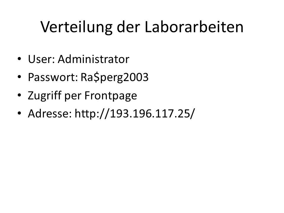 Verteilung der Laborarbeiten User: Administrator Passwort: Ra$perg2003 Zugriff per Frontpage Adresse: http://193.196.117.25/