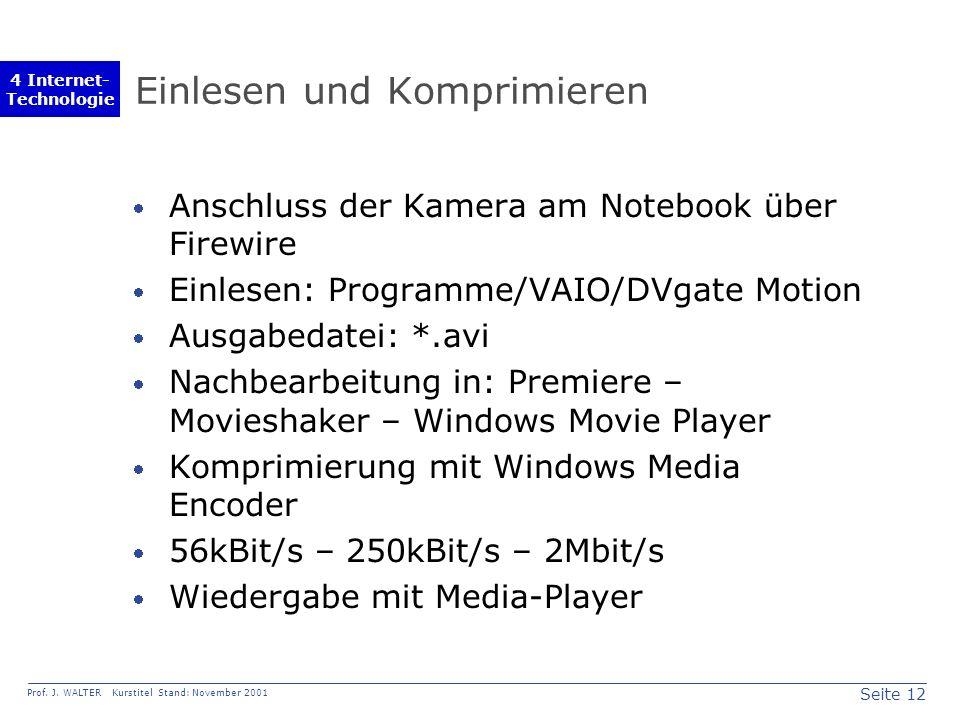 Seite 12 Prof. J. WALTER Kurstitel Stand: November 2001 4 Internet- Technologie Einlesen und Komprimieren Anschluss der Kamera am Notebook über Firewi