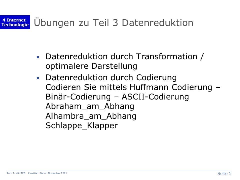 Seite 5 Prof. J. WALTER Kurstitel Stand: November 2001 4 Internet- Technologie Übungen zu Teil 3 Datenreduktion Datenreduktion durch Transformation /