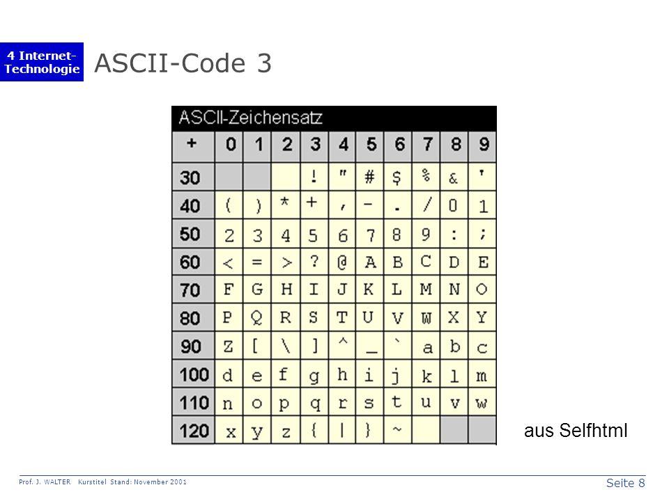 Seite 8 Prof. J. WALTER Kurstitel Stand: November 2001 4 Internet- Technologie ASCII-Code 3 aus Selfhtml
