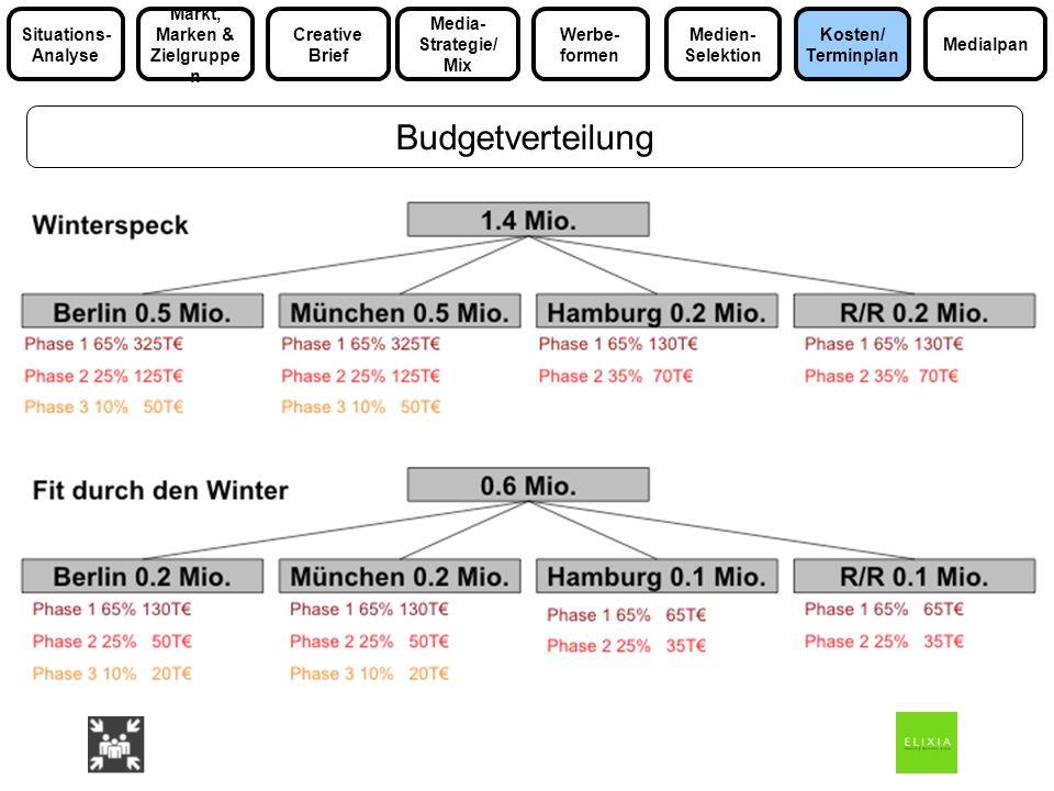 Budgetverteilung Media- Strategie/ Mix Markt, Marken & Zielgruppe n Medialpan Situations- Analyse Werbe- formen Kosten/ Terminplan Medien- Selektion C