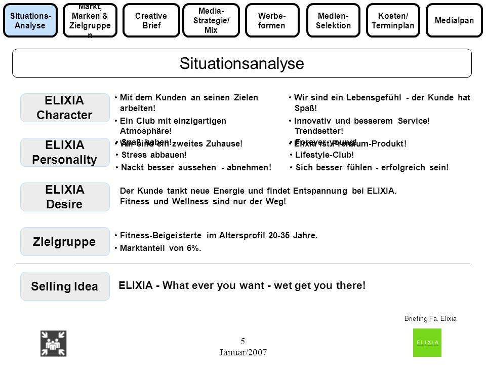 5 Januar/2007 ELIXIA Character ELIXIA Personality ELIXIA Desire Selling Idea Mit dem Kunden an seinen Zielen arbeiten! Ein Club mit einzigartigen Atmo