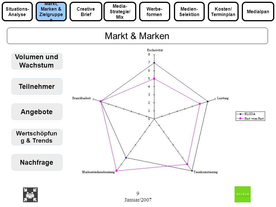 9 Januar/2007 Volumen und Wachstum Teilnehmer Angebote Nachfrage Markt & Marken Wertschöpfun g & Trends Media- Strategie/ Mix Markt, Marken & Zielgrup