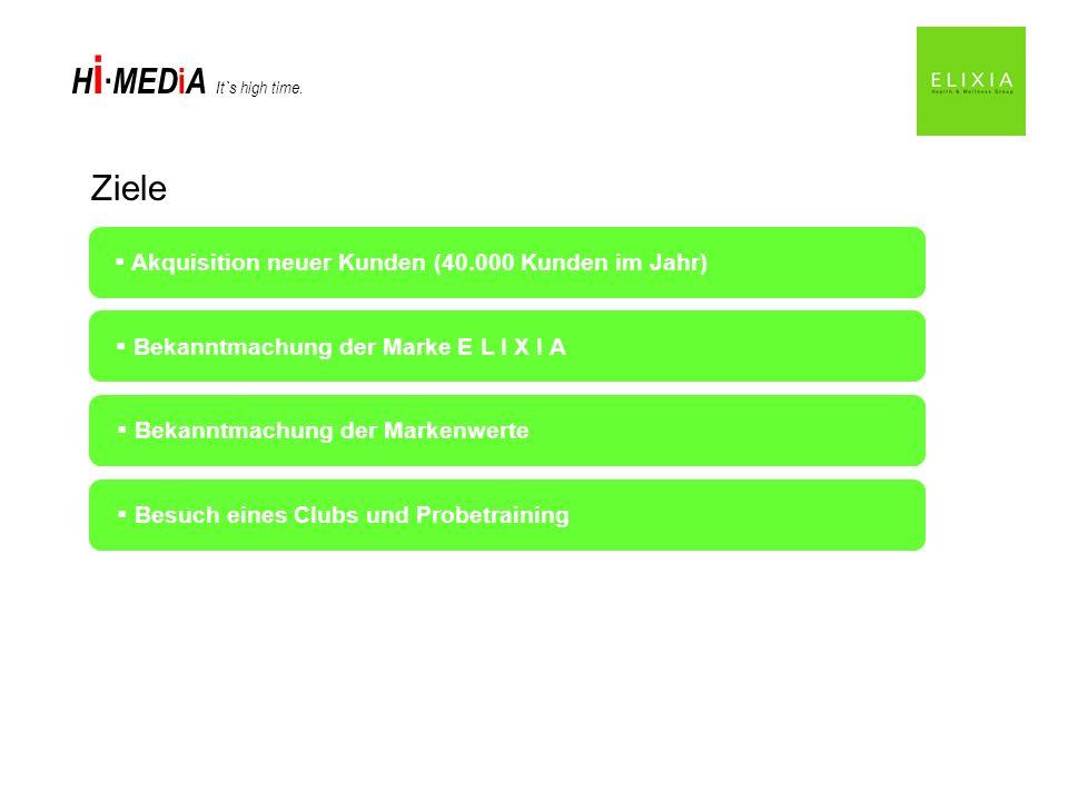 H i MED i A It`s high time. Ziele Akquisition neuer Kunden (40.000 Kunden im Jahr) Bekanntmachung der Marke E L I X I A Bekanntmachung der Markenwerte