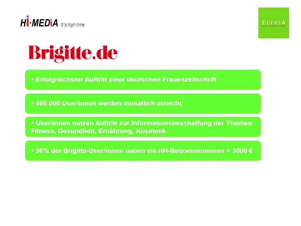 H i MED i A It`s high time. Erfolgreichster Auftritt einer deutschen Frauenzeitschrift 460.000 User/innen werden monatlich erreicht 36% der Brigitte-U