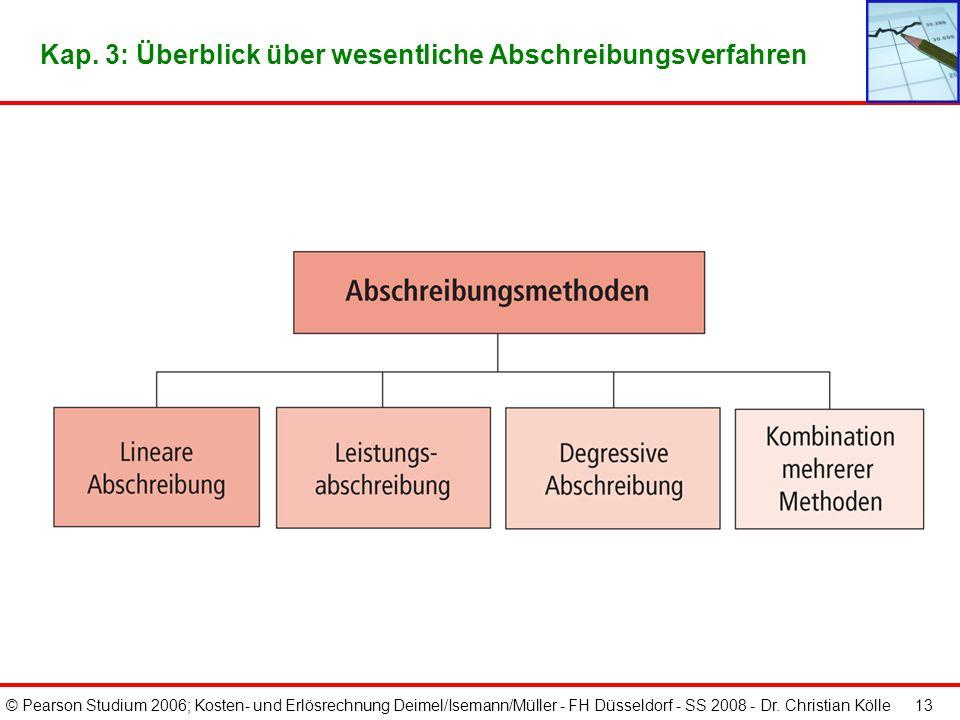© Pearson Studium 2006; Kosten- und Erlösrechnung Deimel/Isemann/Müller - FH Düsseldorf - SS 2008 - Dr. Christian Kölle 12 Drei Hauptgruppen des Werte