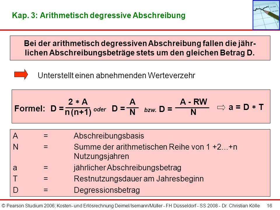 © Pearson Studium 2006; Kosten- und Erlösrechnung Deimel/Isemann/Müller - FH Düsseldorf - SS 2008 - Dr. Christian Kölle 15 Kap. 3: Lineare Abschreibun