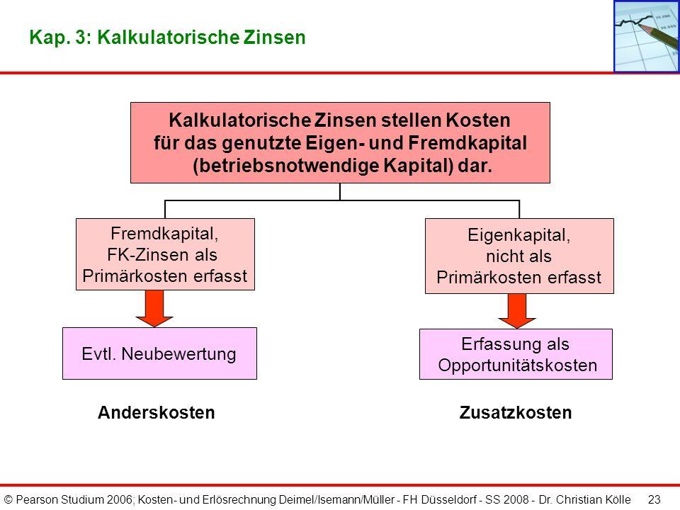 © Pearson Studium 2006; Kosten- und Erlösrechnung Deimel/Isemann/Müller - FH Düsseldorf - SS 2008 - Dr. Christian Kölle 22 Kap. 3: Gegenüberstellung v