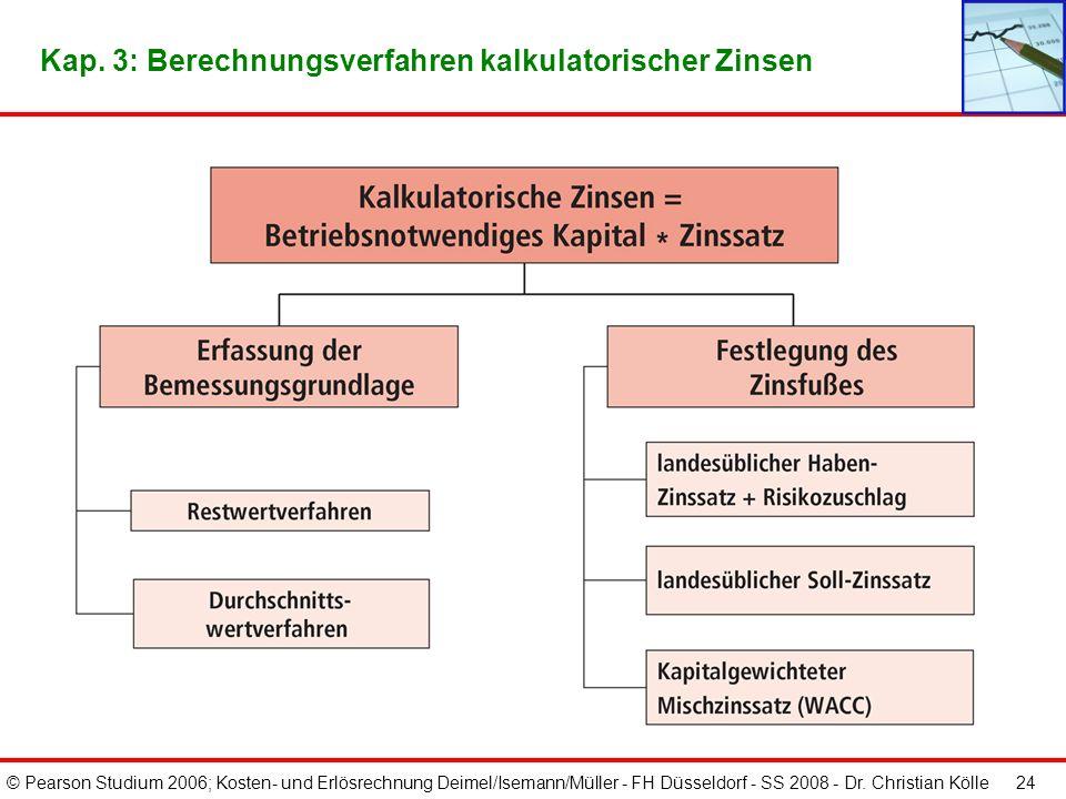 © Pearson Studium 2006; Kosten- und Erlösrechnung Deimel/Isemann/Müller - FH Düsseldorf - SS 2008 - Dr. Christian Kölle 23 Kalkulatorische Zinsen stel