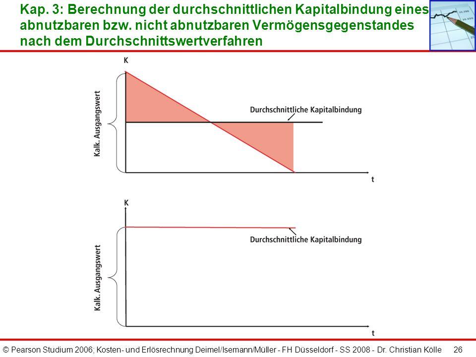 © Pearson Studium 2006; Kosten- und Erlösrechnung Deimel/Isemann/Müller - FH Düsseldorf - SS 2008 - Dr. Christian Kölle 25 Kap. 3: Umbewertung der Anl