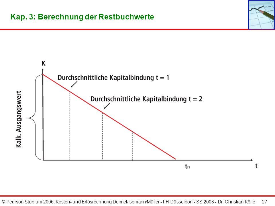 © Pearson Studium 2006; Kosten- und Erlösrechnung Deimel/Isemann/Müller - FH Düsseldorf - SS 2008 - Dr. Christian Kölle 26 Kap. 3: Berechnung der durc