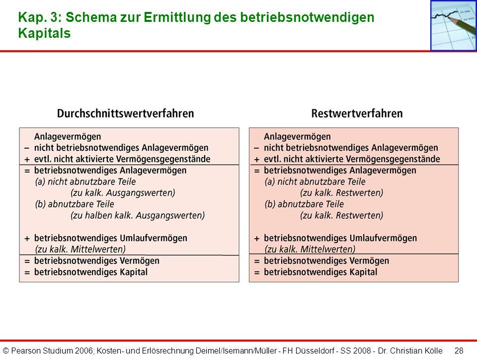 © Pearson Studium 2006; Kosten- und Erlösrechnung Deimel/Isemann/Müller - FH Düsseldorf - SS 2008 - Dr. Christian Kölle 27 Kap. 3: Berechnung der Rest