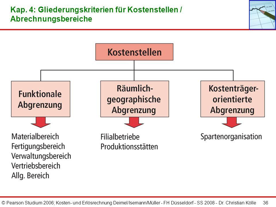© Pearson Studium 2006; Kosten- und Erlösrechnung Deimel/Isemann/Müller - FH Düsseldorf - SS 2008 - Dr. Christian Kölle 35 Kap. 4: Beispielhafte Darst