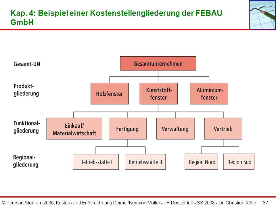 © Pearson Studium 2006; Kosten- und Erlösrechnung Deimel/Isemann/Müller - FH Düsseldorf - SS 2008 - Dr. Christian Kölle 36 Kap. 4: Gliederungskriterie