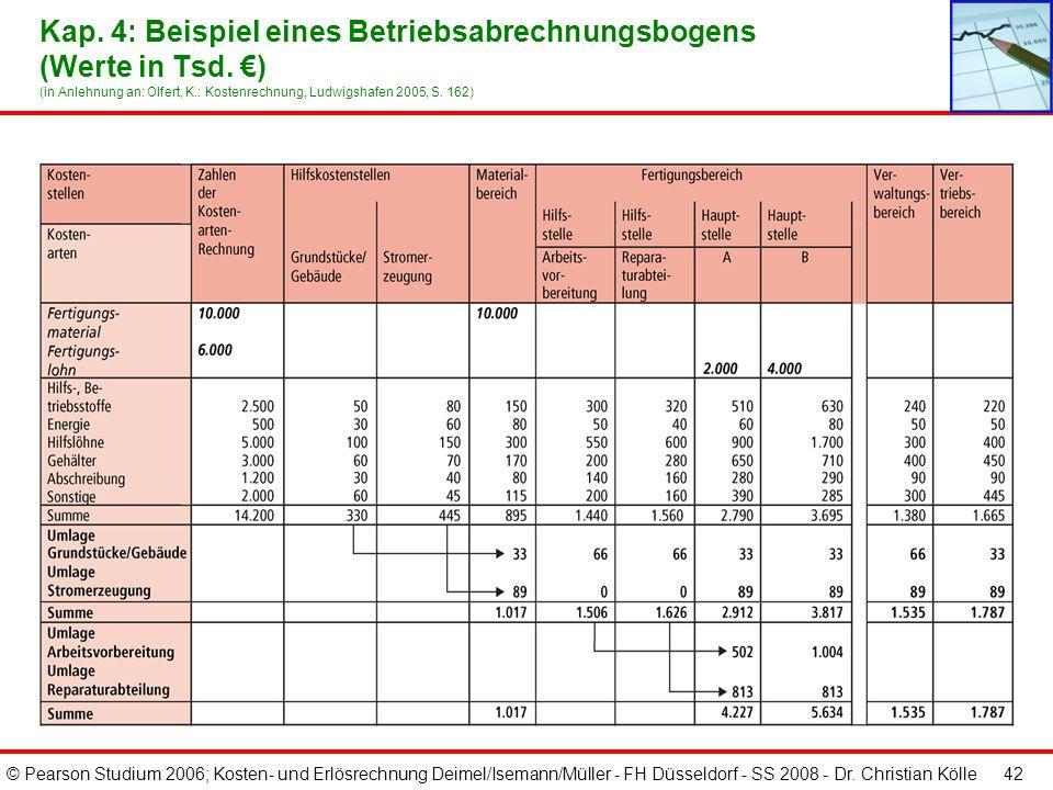 © Pearson Studium 2006; Kosten- und Erlösrechnung Deimel/Isemann/Müller - FH Düsseldorf - SS 2008 - Dr. Christian Kölle 41 Kap. 4: Vorgehensweise der