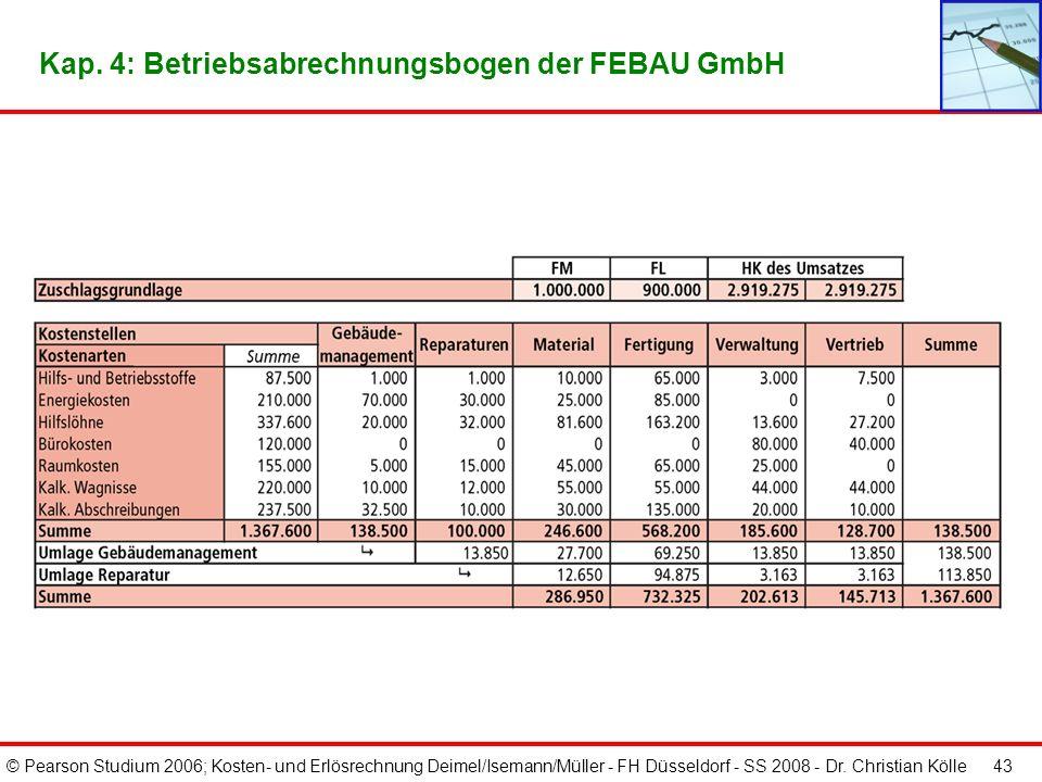 © Pearson Studium 2006; Kosten- und Erlösrechnung Deimel/Isemann/Müller - FH Düsseldorf - SS 2008 - Dr. Christian Kölle 42 Kap. 4: Beispiel eines Betr