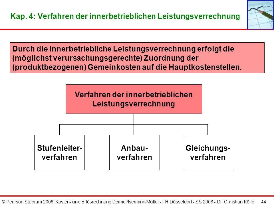© Pearson Studium 2006; Kosten- und Erlösrechnung Deimel/Isemann/Müller - FH Düsseldorf - SS 2008 - Dr. Christian Kölle 43 Kap. 4: Betriebsabrechnungs