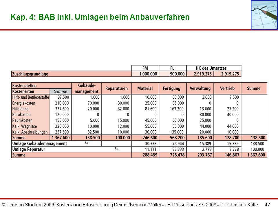 © Pearson Studium 2006; Kosten- und Erlösrechnung Deimel/Isemann/Müller - FH Düsseldorf - SS 2008 - Dr. Christian Kölle 46 Kap. 4: Abrechnungsstruktur