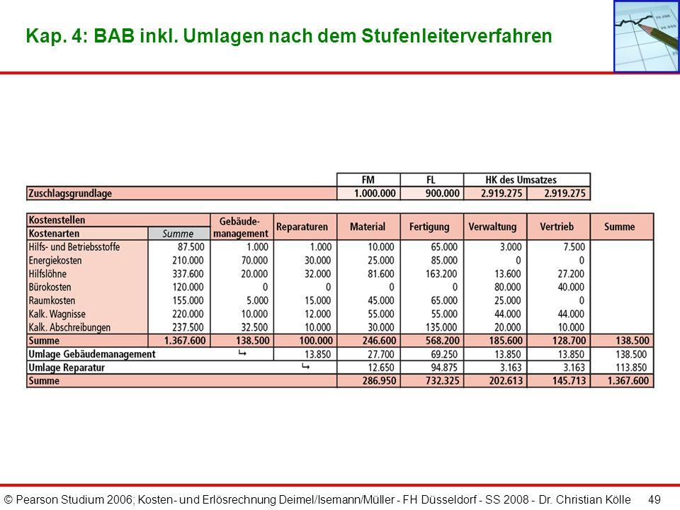 © Pearson Studium 2006; Kosten- und Erlösrechnung Deimel/Isemann/Müller - FH Düsseldorf - SS 2008 - Dr. Christian Kölle 48 Kap. 4: Abrechnungsstruktur