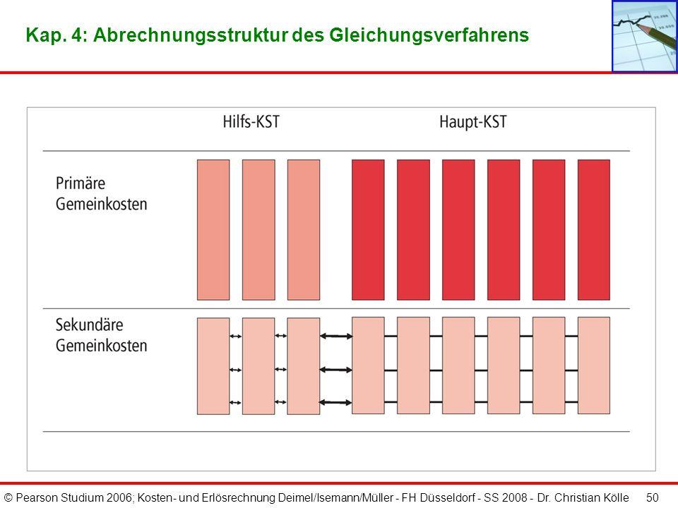 © Pearson Studium 2006; Kosten- und Erlösrechnung Deimel/Isemann/Müller - FH Düsseldorf - SS 2008 - Dr. Christian Kölle 49 Kap. 4: BAB inkl. Umlagen n