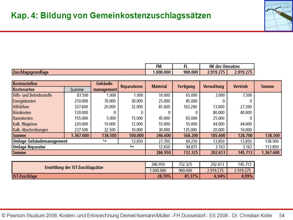 © Pearson Studium 2006; Kosten- und Erlösrechnung Deimel/Isemann/Müller - FH Düsseldorf - SS 2008 - Dr. Christian Kölle 53 Kap. 4: Bildung von Gemeink