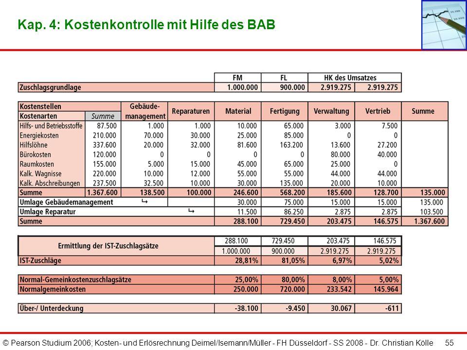 © Pearson Studium 2006; Kosten- und Erlösrechnung Deimel/Isemann/Müller - FH Düsseldorf - SS 2008 - Dr. Christian Kölle 54 Kap. 4: Bildung von Gemeink