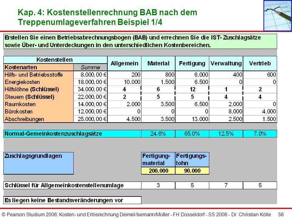 © Pearson Studium 2006; Kosten- und Erlösrechnung Deimel/Isemann/Müller - FH Düsseldorf - SS 2008 - Dr. Christian Kölle 55 Kap. 4: Kostenkontrolle mit