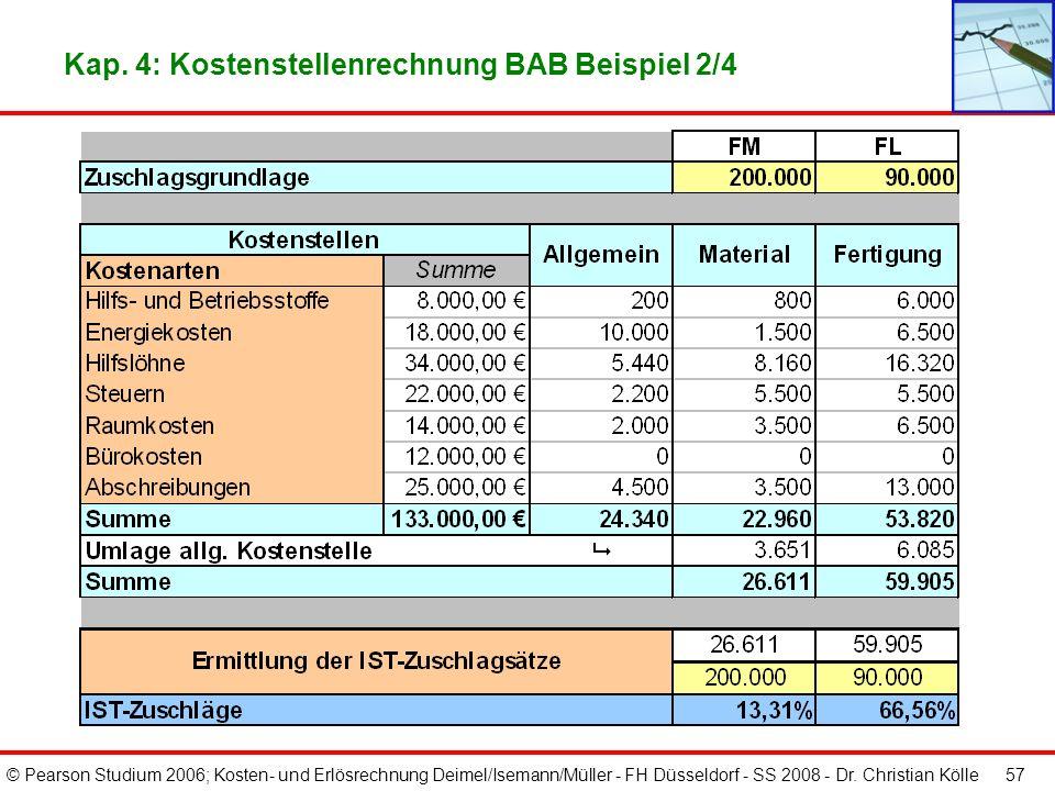 © Pearson Studium 2006; Kosten- und Erlösrechnung Deimel/Isemann/Müller - FH Düsseldorf - SS 2008 - Dr. Christian Kölle 56 Kap. 4: Kostenstellenrechnu