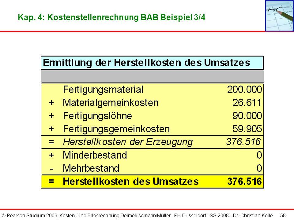 © Pearson Studium 2006; Kosten- und Erlösrechnung Deimel/Isemann/Müller - FH Düsseldorf - SS 2008 - Dr. Christian Kölle 57 Kap. 4: Kostenstellenrechnu