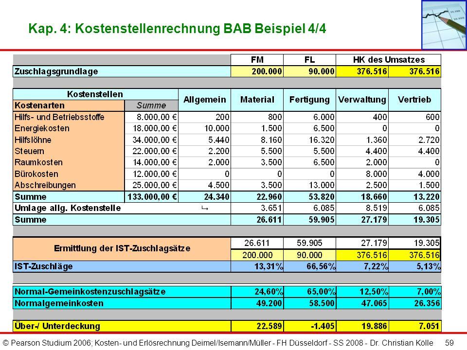 © Pearson Studium 2006; Kosten- und Erlösrechnung Deimel/Isemann/Müller - FH Düsseldorf - SS 2008 - Dr. Christian Kölle 58 Kap. 4: Kostenstellenrechnu