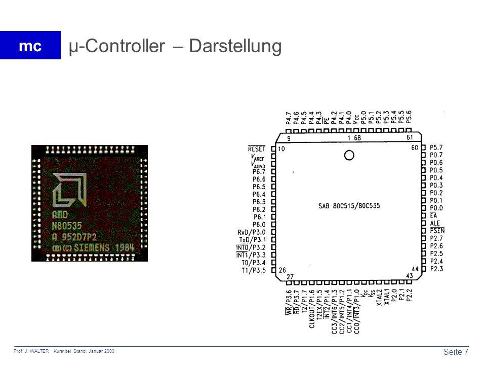 Seite 7 Prof. J. WALTER Kurstitel Stand: Januar 2000 mc µ-Controller – Darstellung