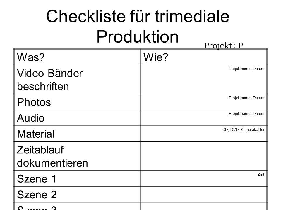 Checkliste für trimediale Produktion Was Wie.