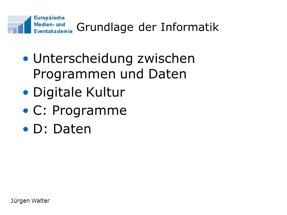Jürgen Walter Grundlage der Informatik Unterscheidung zwischen Programmen und Daten Digitale Kultur C: Programme D: Daten