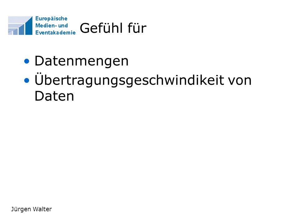 Jürgen Walter Gefühl für Datenmengen Übertragungsgeschwindikeit von Daten