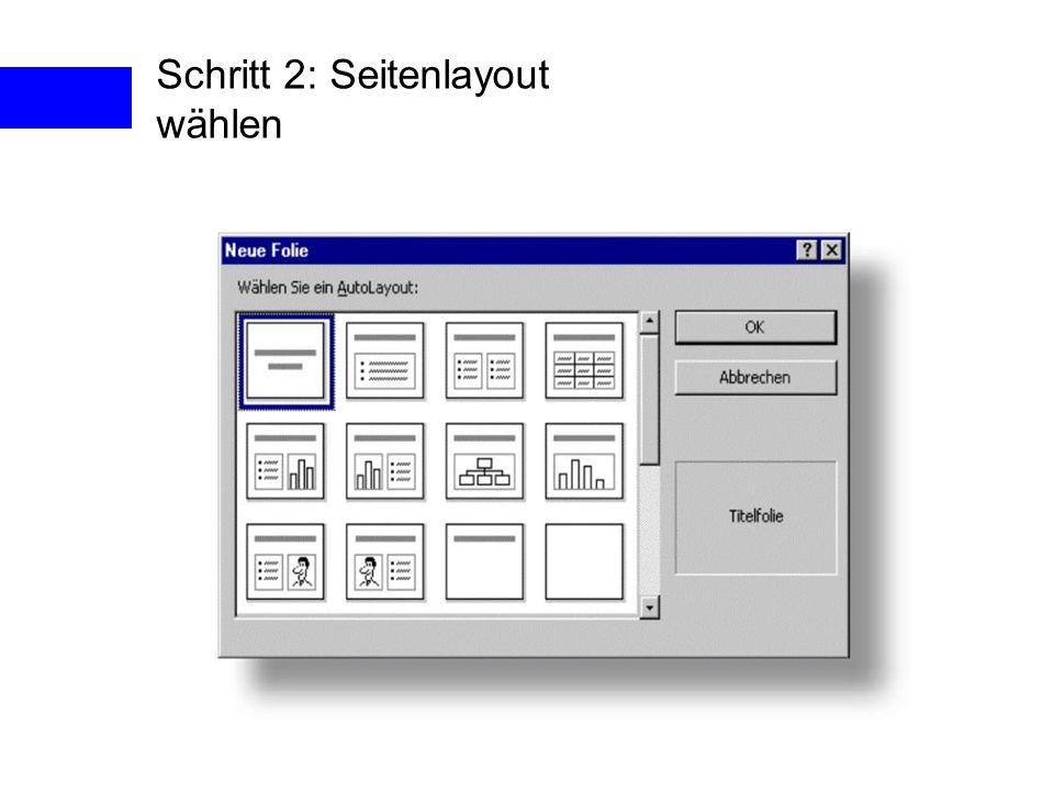 Schritt 2: Seitenlayout wählen
