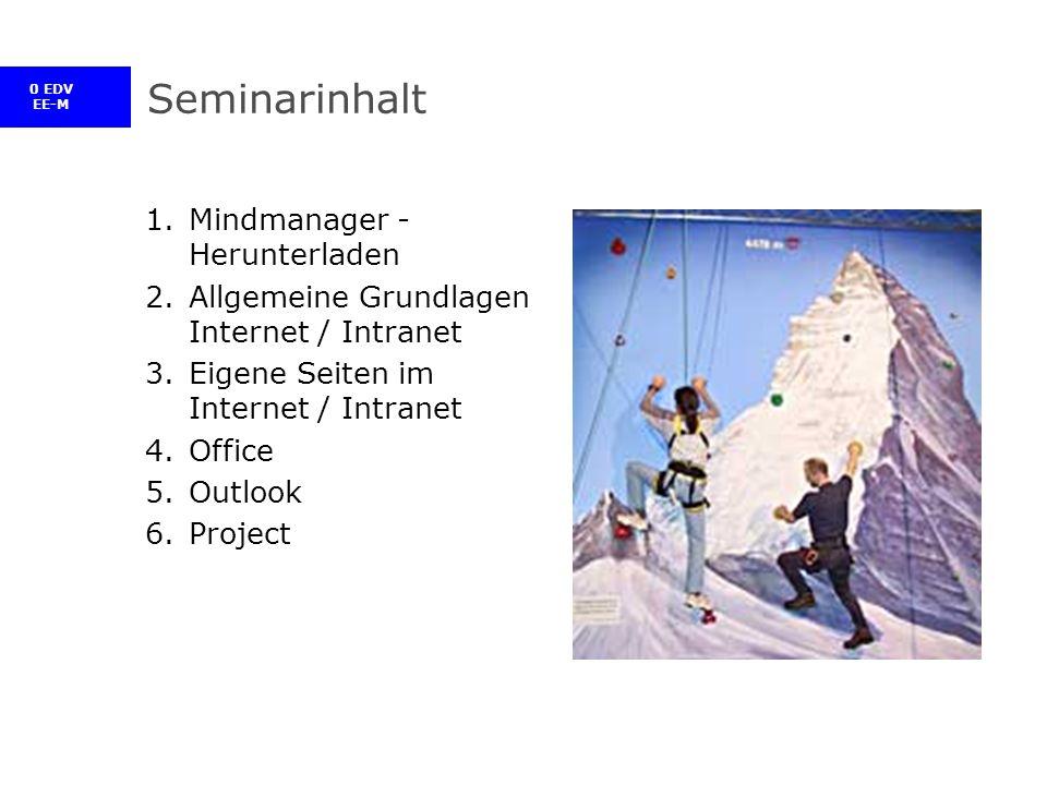 0 EDV EE-M Seminarinhalt 1.Mindmanager - Herunterladen 2.Allgemeine Grundlagen Internet / Intranet 3.Eigene Seiten im Internet / Intranet 4.Office 5.Outlook 6.Project