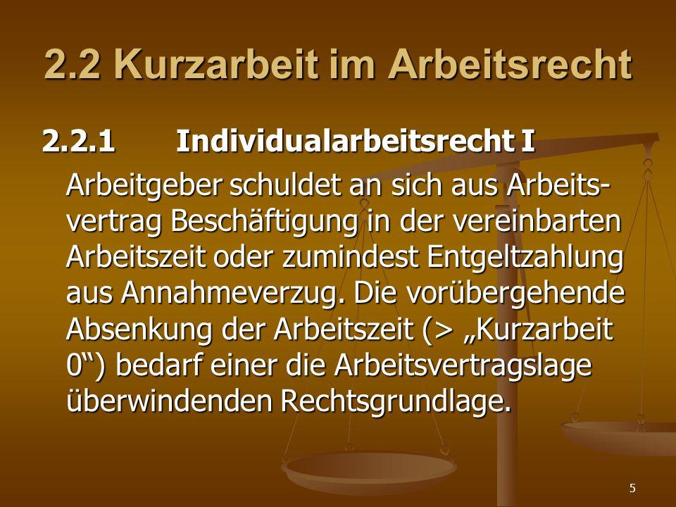 5 2.2 Kurzarbeit im Arbeitsrecht 2.2.1Individualarbeitsrecht I Arbeitgeber schuldet an sich aus Arbeits- vertrag Beschäftigung in der vereinbarten Arb