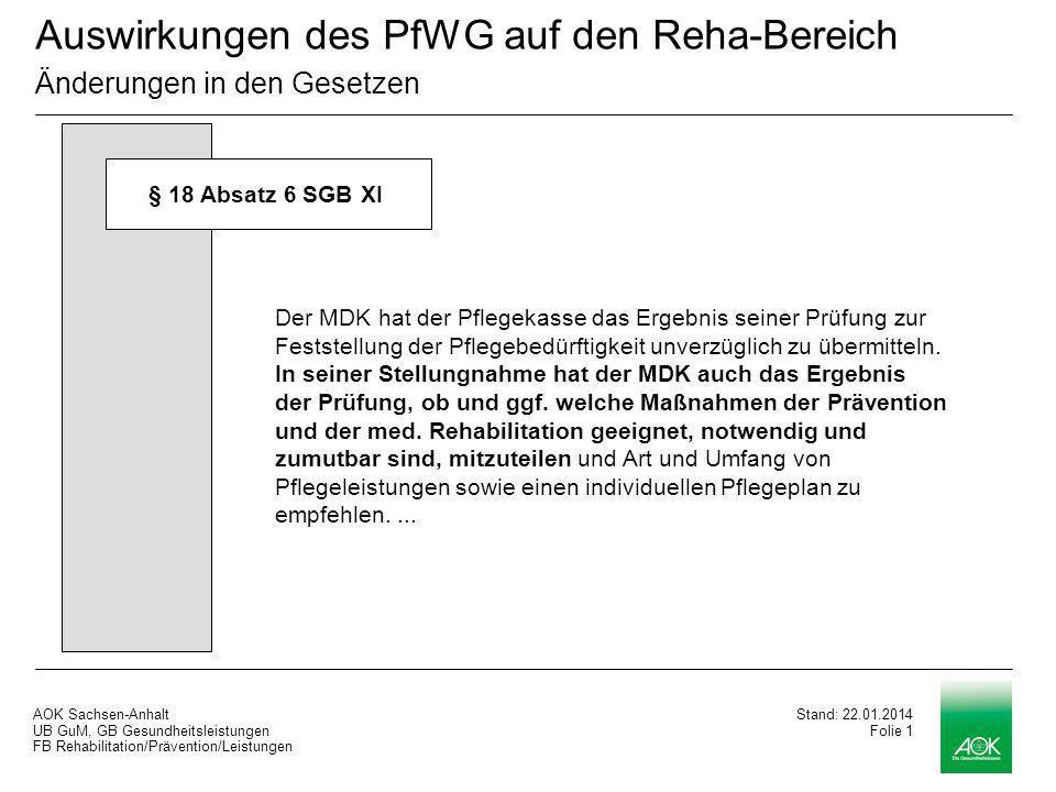 AOK Sachsen-Anhalt UB GuM, GB Gesundheitsleistungen FB Rehabilitation/Prävention/Leistungen Stand: 22.01.2014 Folie 0 Auswirkungen des PfWG auf den Reha-Bereich Ralf Dralle Halle, 09.09.2008 Stand: 22.01.2014 Folie 0