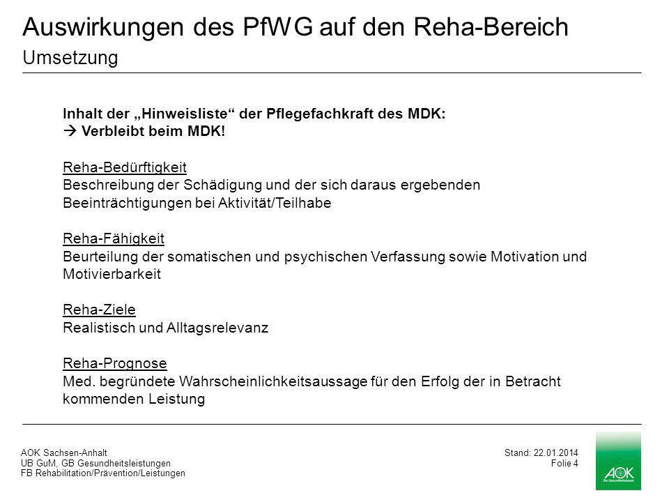AOK Sachsen-Anhalt UB GuM, GB Gesundheitsleistungen FB Rehabilitation/Prävention/Leistungen Stand: 22.01.2014 Folie 4 Inhalt der Hinweisliste der Pflegefachkraft des MDK: Verbleibt beim MDK.