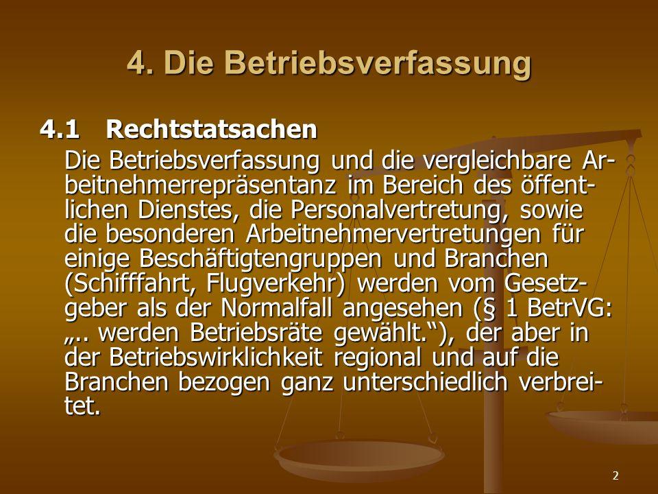 2 4. Die Betriebsverfassung 4.1Rechtstatsachen Die Betriebsverfassung und die vergleichbare Ar- beitnehmerrepräsentanz im Bereich des öffent- lichen D