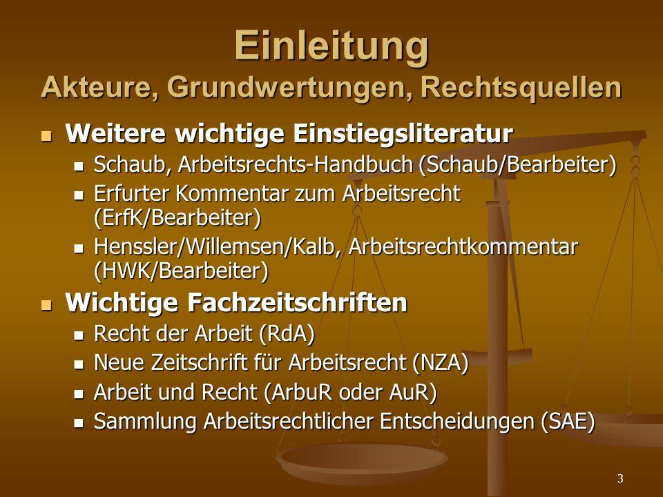 14 Einleitung Akteure, Grundwertungen, Rechtsquellen Rechtsquellen Rechtsquellen Grundgesetz, EGV (+ VO und RL), EMRK, ILO-Abk.