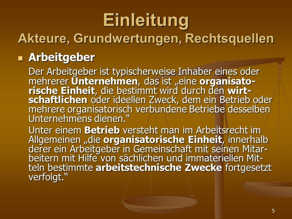 6 Einleitung Akteure, Grundwertungen, Rechtsquellen Arbeitnehmer Arbeitnehmer Der Arbeitnehmer ist das Schutzobjekt des Arbeitsrechts als Schutzrecht.