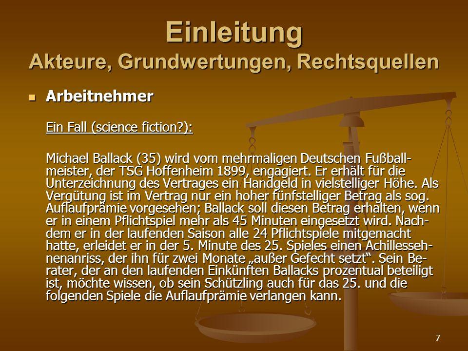 7 Einleitung Akteure, Grundwertungen, Rechtsquellen Arbeitnehmer Arbeitnehmer Ein Fall (science fiction?): Michael Ballack (35) wird vom mehrmaligen Deutschen Fußball- meister, der TSG Hoffenheim 1899, engagiert.