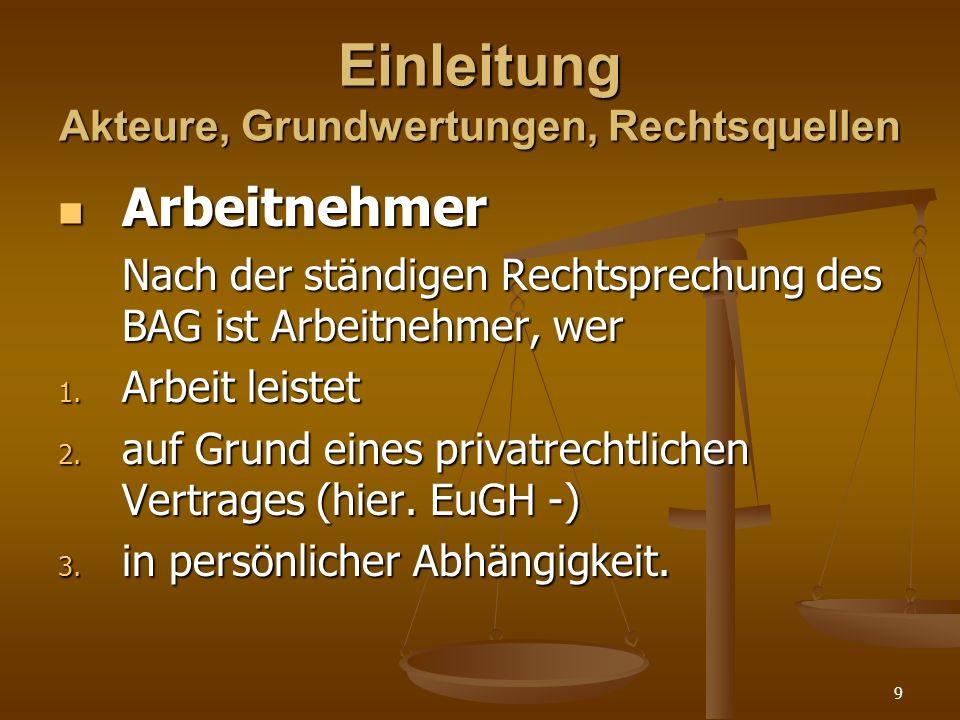 9 Einleitung Akteure, Grundwertungen, Rechtsquellen Arbeitnehmer Arbeitnehmer Nach der ständigen Rechtsprechung des BAG ist Arbeitnehmer, wer 1.